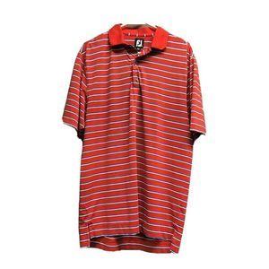 FootJoy Men Golf Polo Shirt Red Stripe SS M